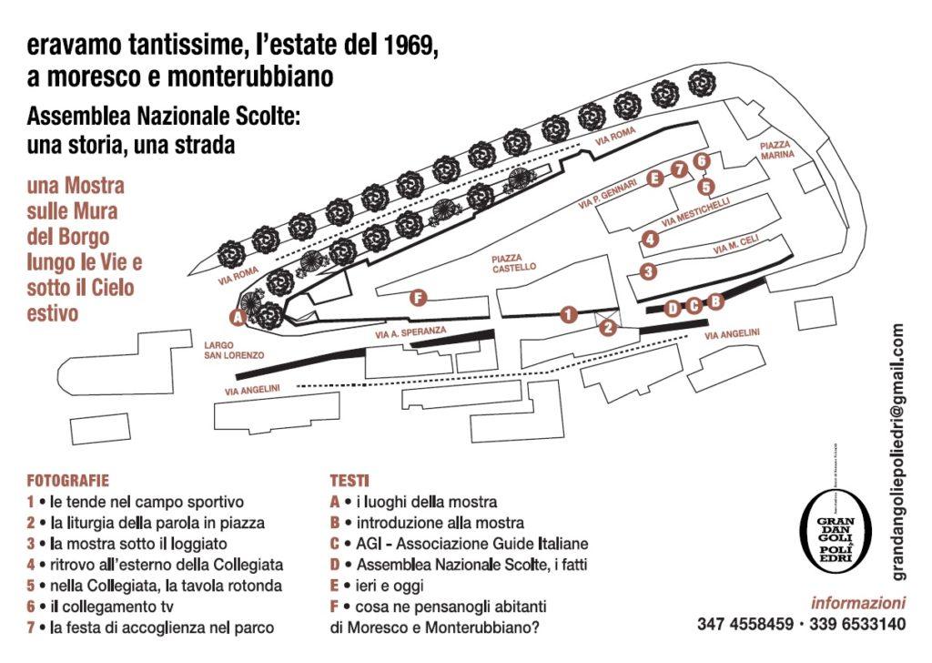 """Percorso della mostra fotografica di Romano Folicaldi allestita a Moresco """"sulle mura del borgo, lungo le vie e sotto il cielo aperto"""", dal 1 al 31 Agosto 2020,"""